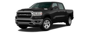 A black 2020 Ram 1500 is facing left.