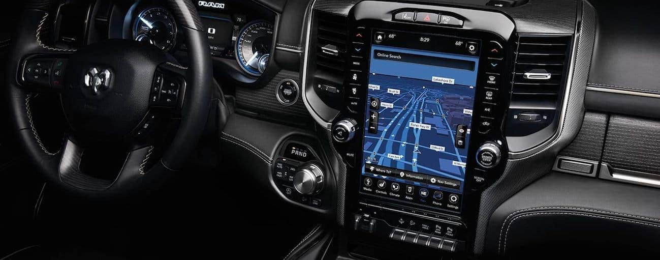 A close up of the 12-inch infotainment touch screen inside the 2020 Ram 1500.