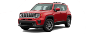 A red 2020 Jeep Renegade is facing left.