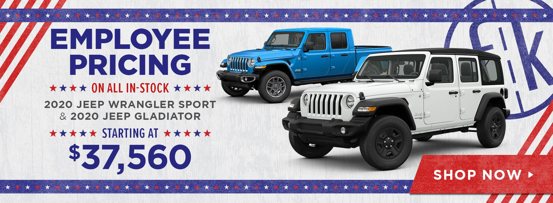 Employee Pricing on All In-Stock 2020 Jeep Wrangler Sport & 2020 Jeep Gladiator Starting at $37,560
