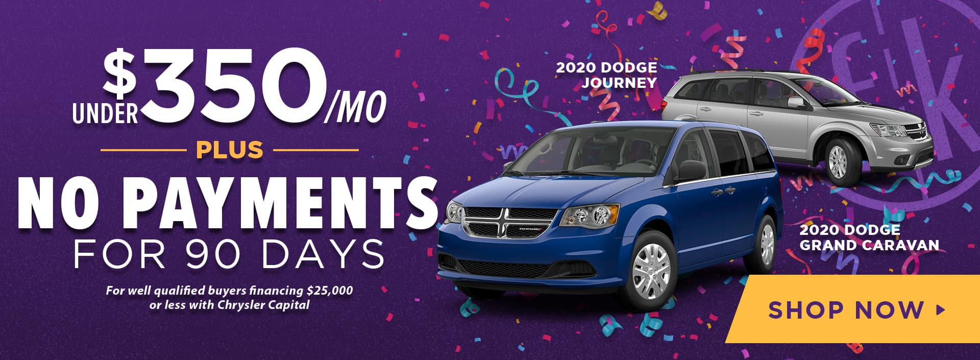 Under $350/ mo PLUS No Payments for 90 Days 2020 Dodge Journey & Grand Caravan