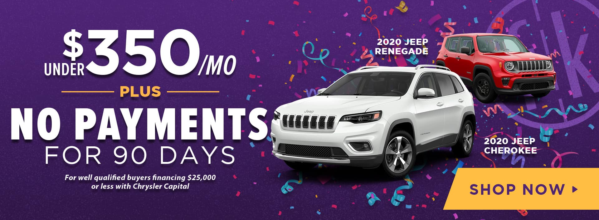 Under $350/ mo PLUS No Payments for 90 Days 2020 Jeep Renegade & Cherokee
