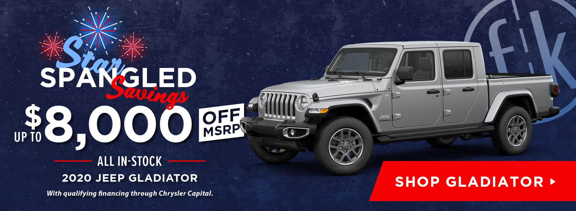Up To $8,000 Off All In-Stock 2020 Jeep Gladiators