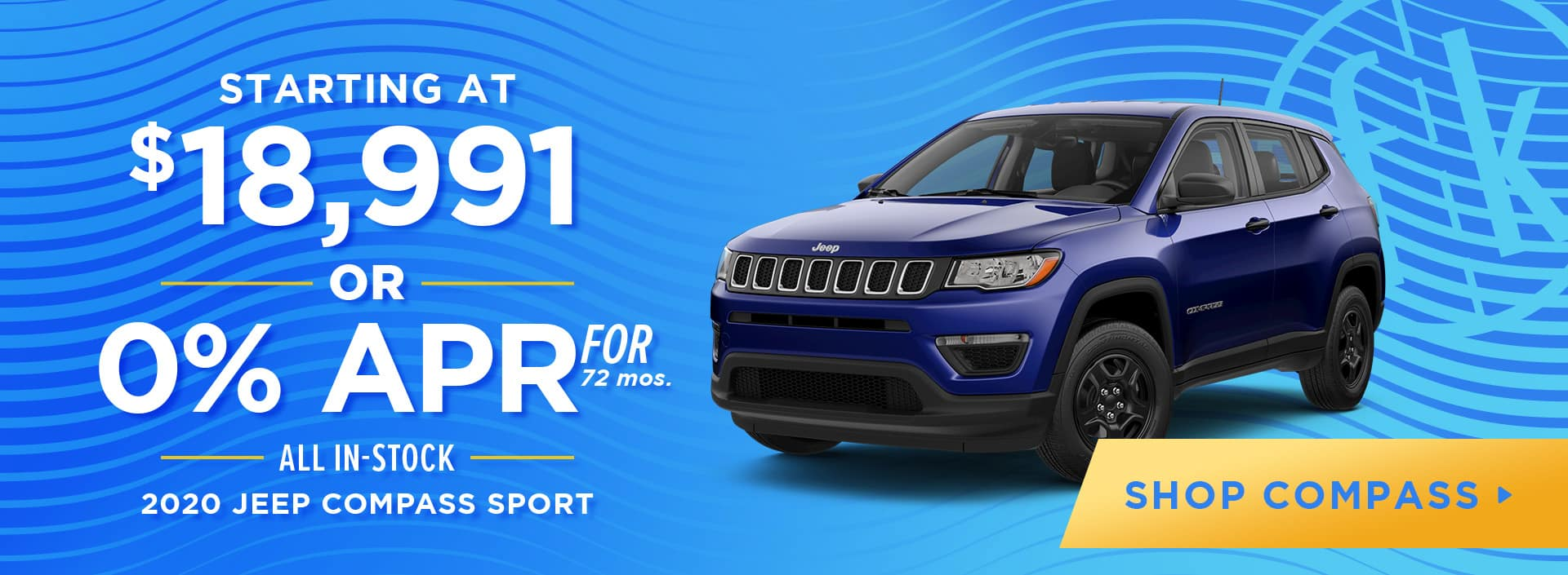 Starting at $18,991 -OR- 0% for 72 All In-Stock 2020 Jeep Compass Sport