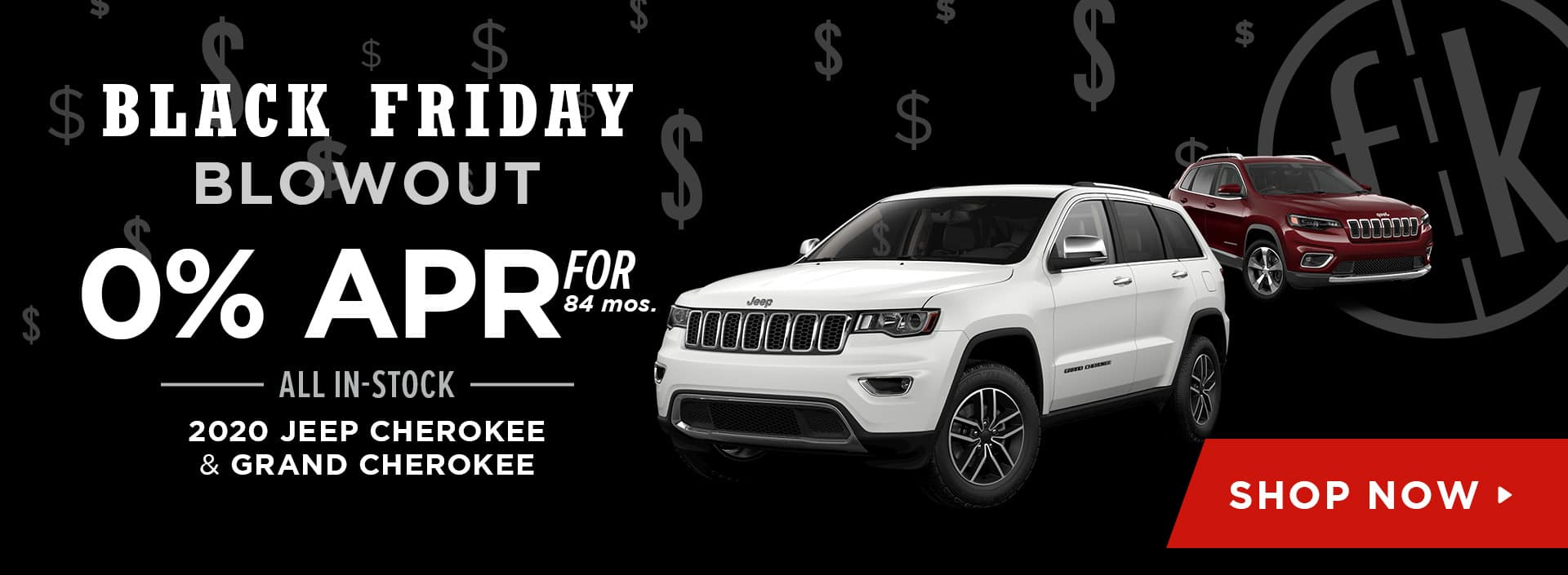 0% for 84 mos. All In-Stock 2020 Jeep Cherokee & Grand Cherokee