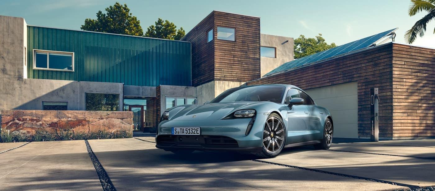 2020 Porsche Taycan parked in driveway