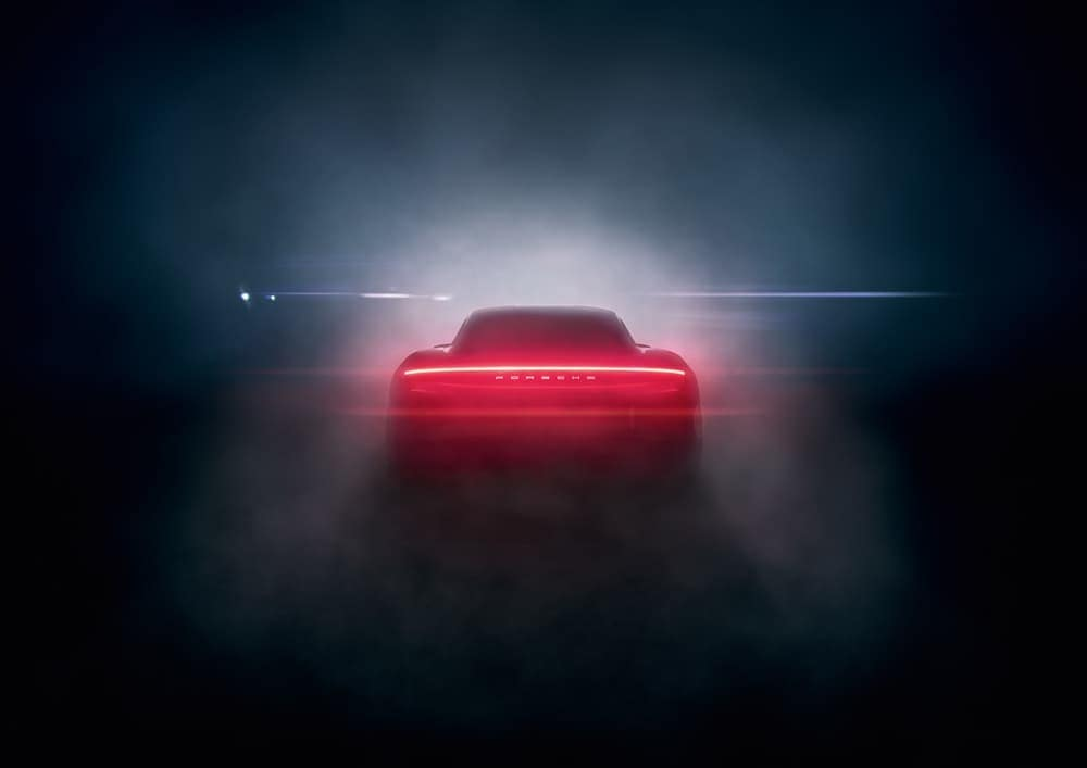 2020 Porsche Taycan rear in fog