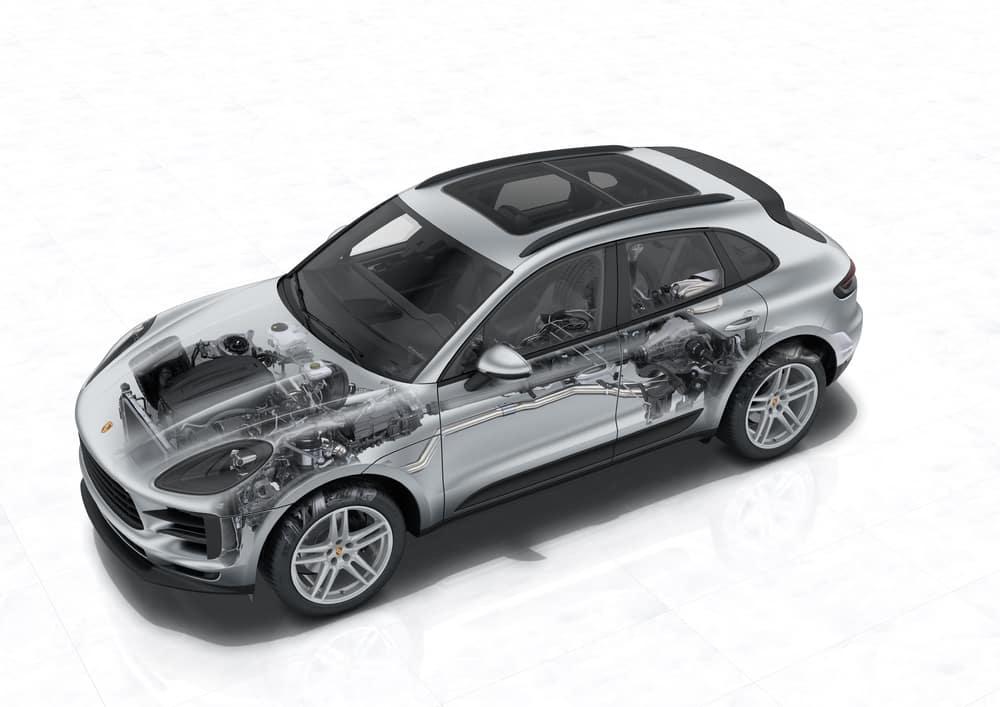 2019 Porsche Macan x-ray of car body