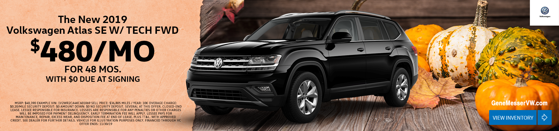 Lease the 2019 Atlas SE W/ TECH FWD for $480/month for 48 months with $0 due