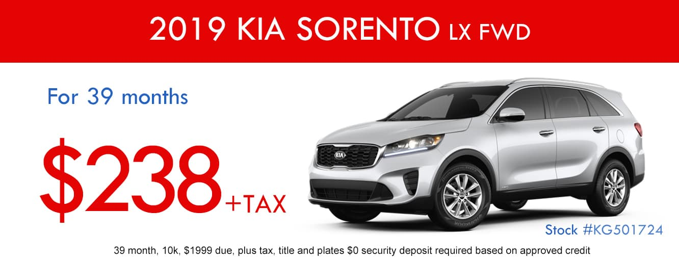 2019 Kia Sorento LX FWD January Lease Special