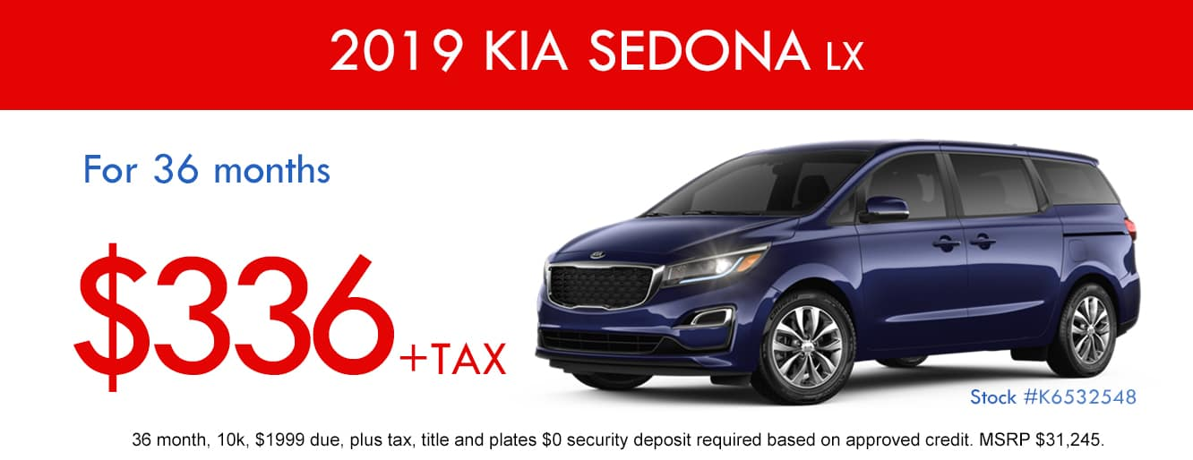 2019 Kia Sedona LX April Lease Special