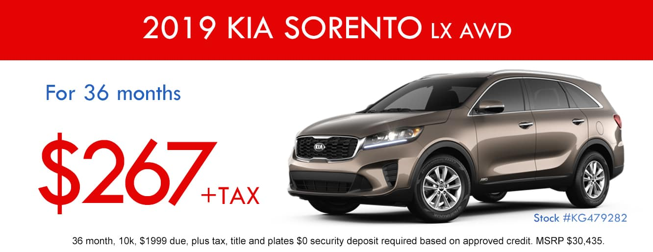 2019 Kia Sorento LX AWD April Lease Special