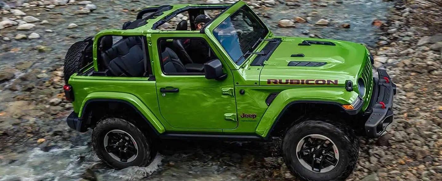 A Green Jeep Wrangler