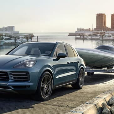 2018 Porsche Cayenne Towing a Boat out of the Water