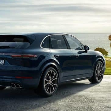 2019 Porsche Cayenne Parked on a Golf Course by the Ocean