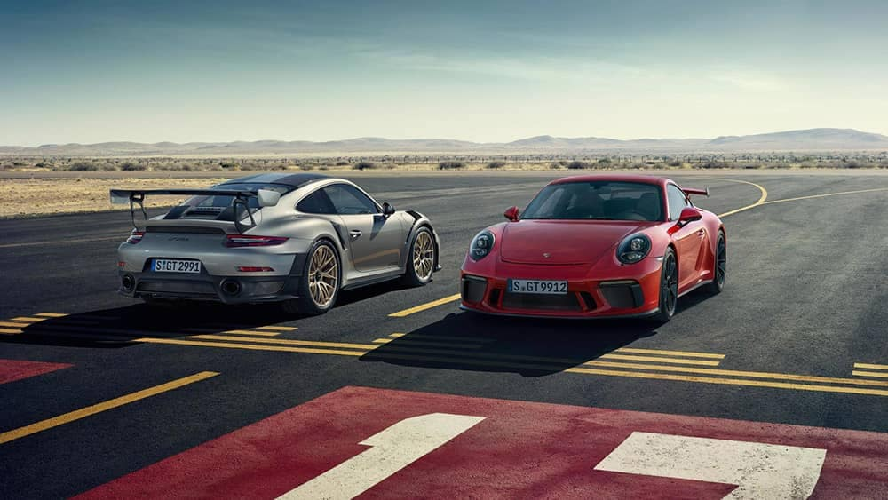 2019 Porsche 911 Models at Racetrack