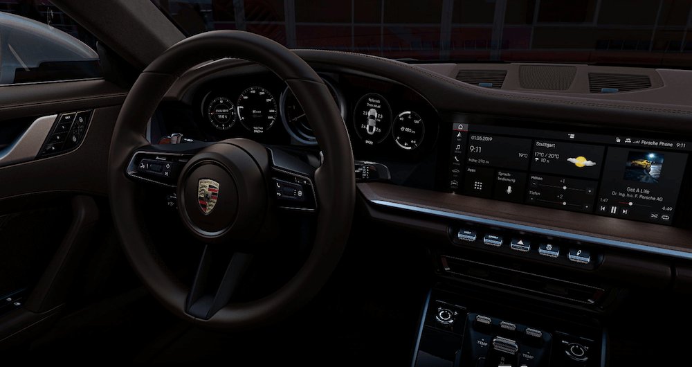 2019 Porsche 911 interior and steering wheel
