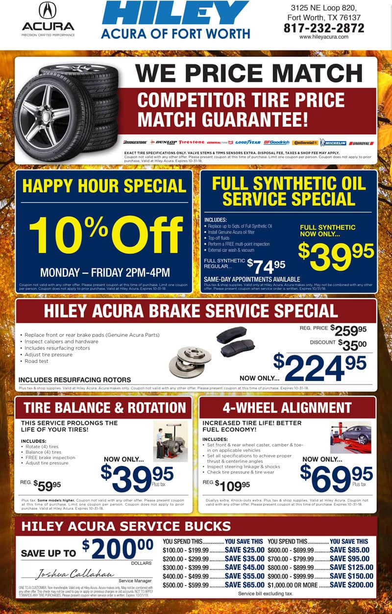 Acura Service Coupons Specials Near Fort Worth North Richland - Acura dealer service coupons