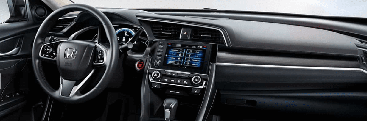 Steering wheel and dash inside Honda Civic