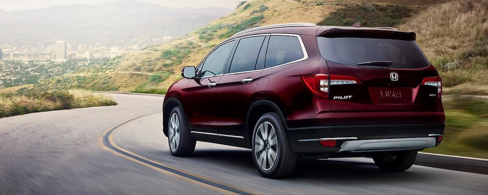 2020 Honda Pilot driving on highway in the mountains