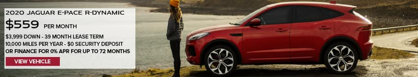 2020 JAGUAR E-PACE 25T PREMIUM. $559 PER MONTH. 39 MONTH LEASE TERM. $3,999 DOWN. $0 SECURITY DEPOSIT. 10,000 MILES PER YEAR. OR FINANCE FOR 0% APR FOR UP TO 72 MONTHS OFFER ENDS 1/31/2021. VIEW VEHICLE. RED JAGUAR E-PACE PARKED NEAR LAKE.
