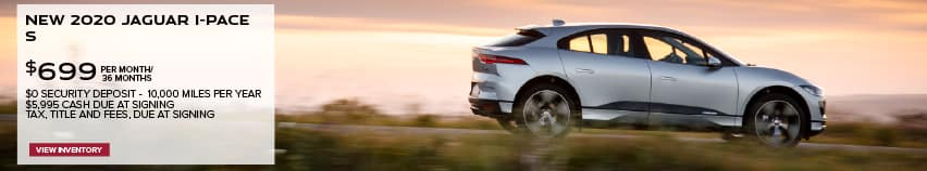 NEW 2020 JAGUAR I-PACE S. $699 PER MONTH. 36 MONTH LEASE TERM. $5,995 CASH DUE AT SIGNING. $0 SECURITY DEPOSIT. 7,500 MILES PER YEAR. EXCLUDES RETAILER FEES, TAXES, TITLE AND REGISTRATION FEES, PROCESSING FEE AND ANY EMISSION TESTING CHARGE. OFFER ENDS 6/30/2021. VIEW INVENTORY. SILVER JAGUAR I-PACE DRIVING THROUGH COUNTRYSIDE.