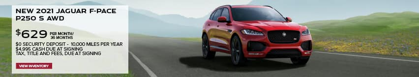 NEW 2021 JAGUAR F-PACE P250 S AWD. $629 PER MONTH. 36 MONTH LEASE TERM. $4,995 CASH DUE AT SIGNING. $0 SECURITY DEPOSIT. 10,000 MILES PER YEAR. EXCLUDES RETAILER FEES, TAXES, TITLE AND REGISTRATION FEES, PROCESSING FEE AND ANY EMISSION TESTING CHARGE. OFFER ENDS 6/30/2021. VIEW INVENTORY. RED JAGUAR F-PACE DRIVING THROUGH VALLEY.