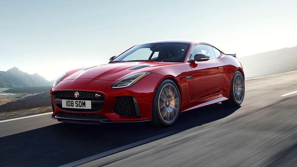 2019 jaguar f type svr in caldera red driving