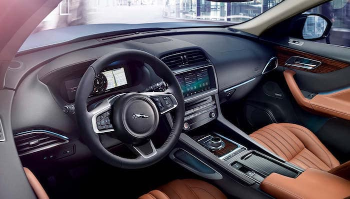 Front seat interior and dash of Jaguar F-PACE