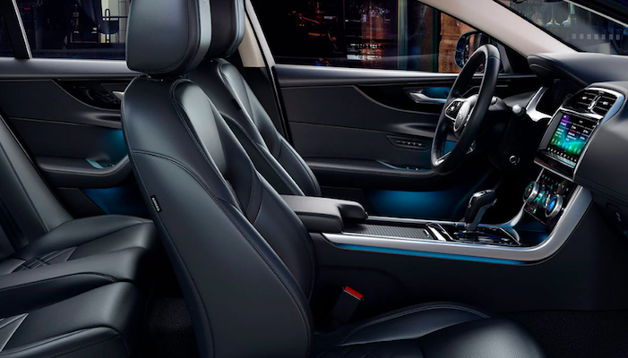 Front seat interior view of Jaguar XE