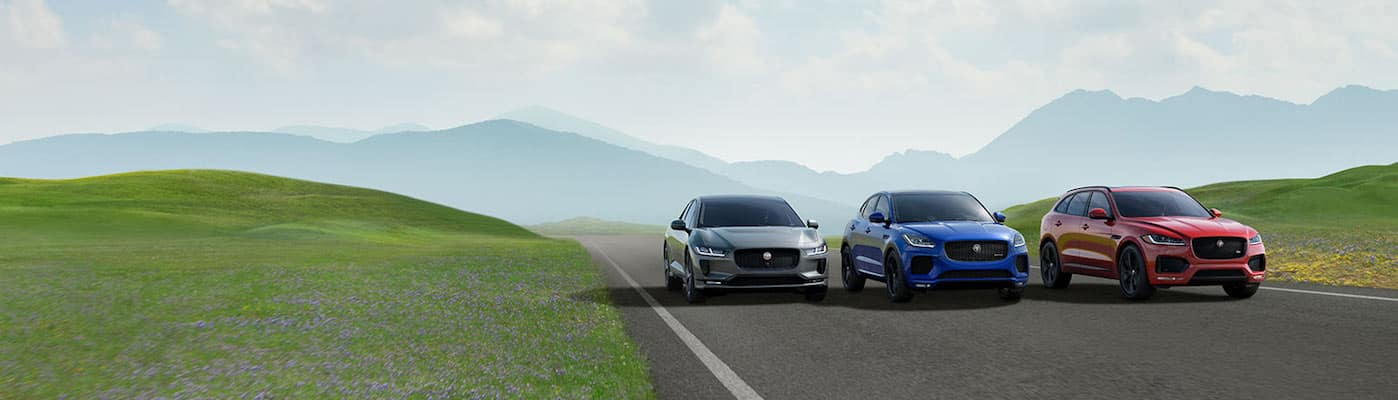 Three Jaguar cars driving down grass-lined highway near mountains