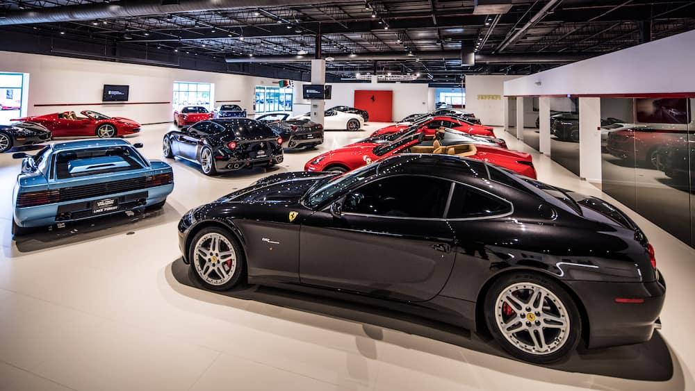3 Rows of Ferrari Models Indoors