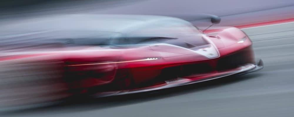 Ferrari Blurred Fast on the Track