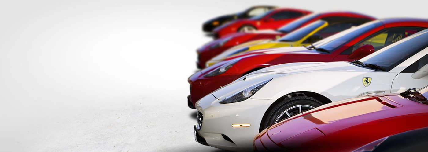 Lineup of Past Ferrari Models