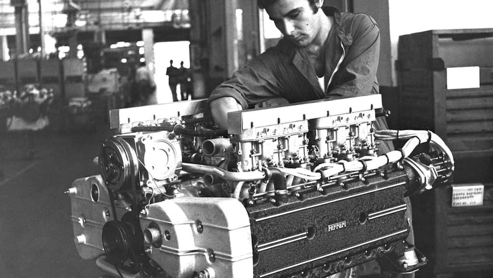 Mechanic Working on 365 GT4 BB Engine