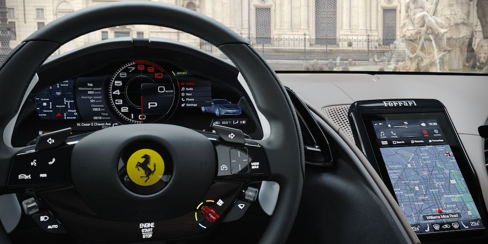 Ferrari Roma Steering Wheel and Touchscreen