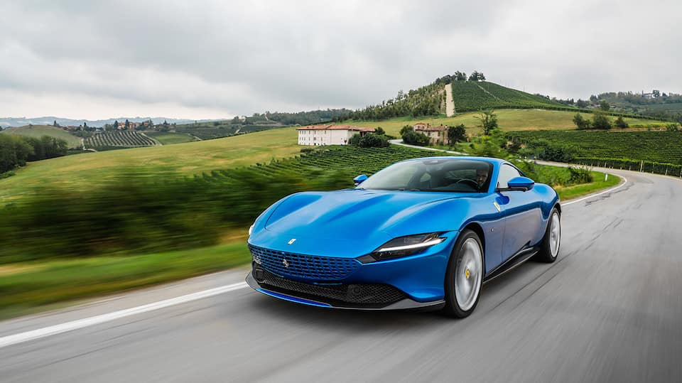Blue Ferrari Roma in Countryside