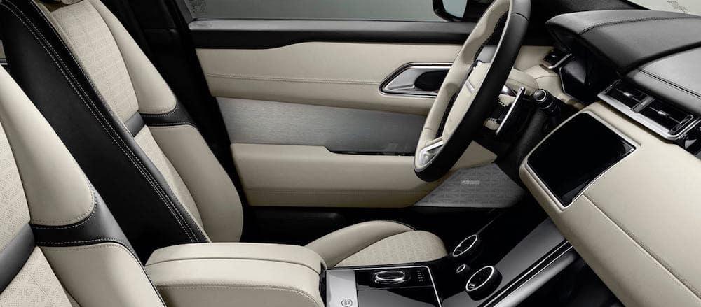 White Velar interior and steering wheel