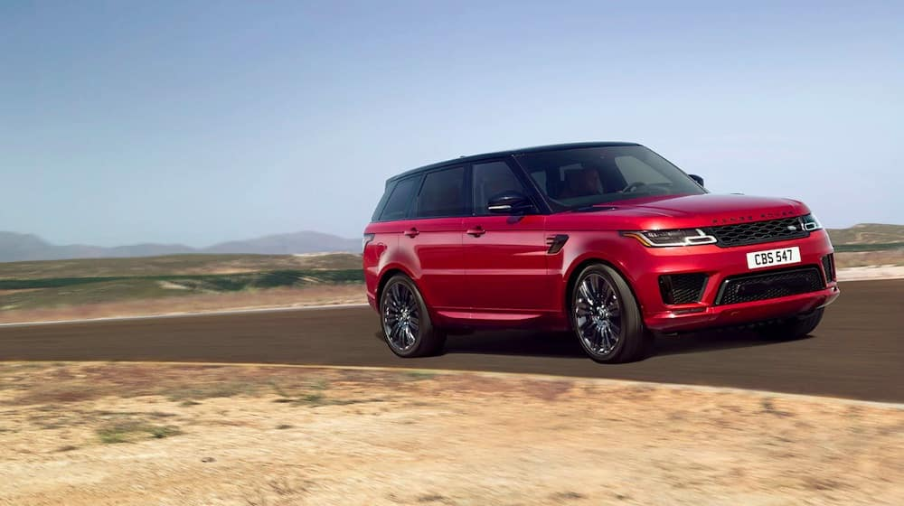 2019 Range Rover Sport in red on rural roads