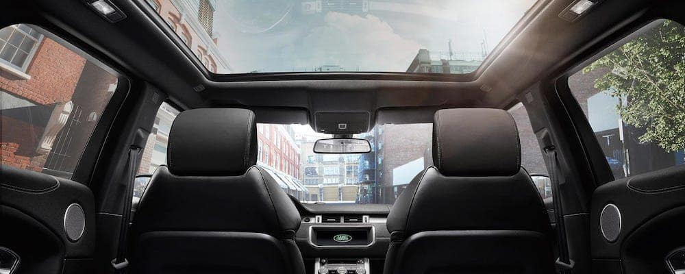 2020 Range Rover Evoque interior with view of panoramic roof