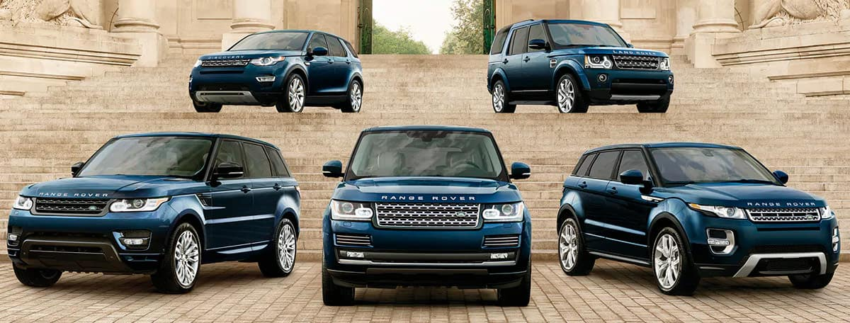Lineup of land rover vehicles