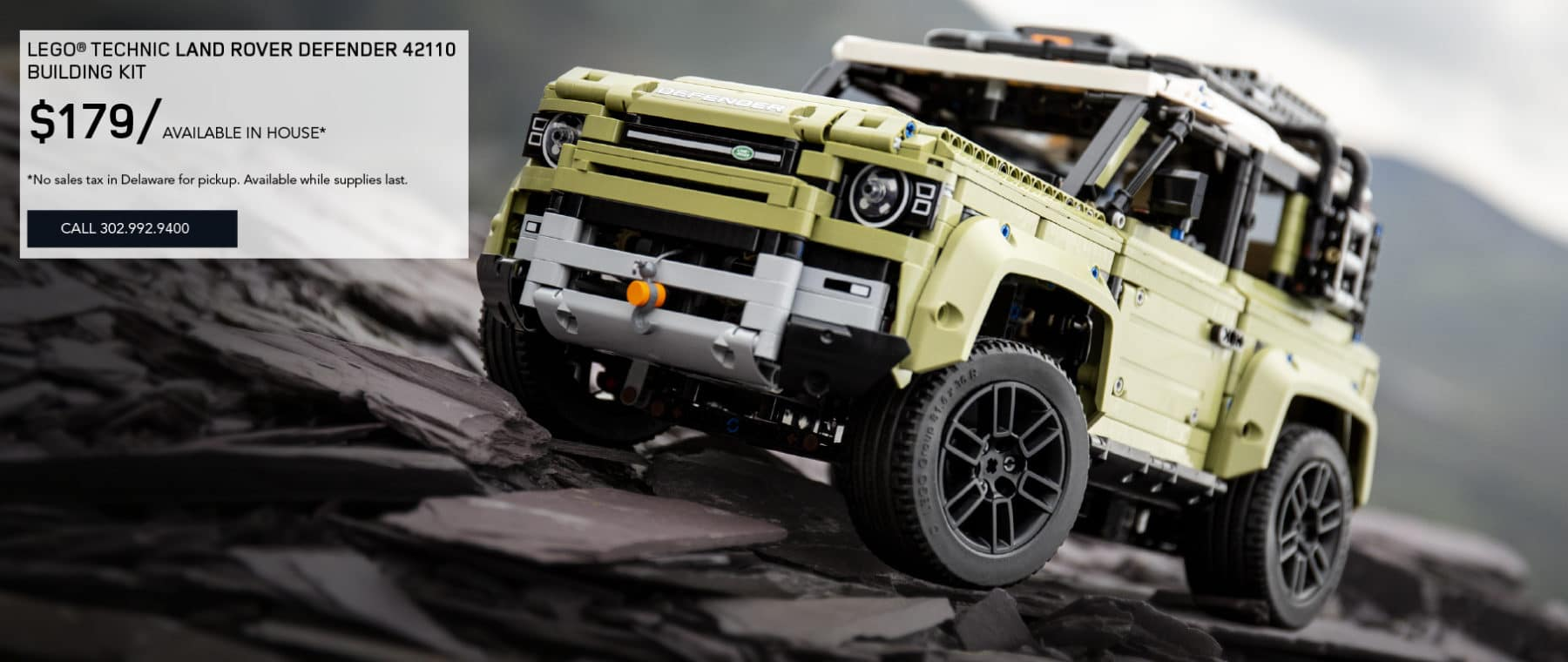 LEGO® TECHNIC LAND ROVER DEFENDER 42110 BUILDING KIT. $179 AVAILABLE IN HOUSE. NO SALES TAX IN DELEWARE FOR PICKUP. AVAILABLE WHILE SUPPLIES LAST. CALL 302.992.9400. GREEN LEGO TECHNIC LAND ROVER DEFENDER TOY FEATURED.
