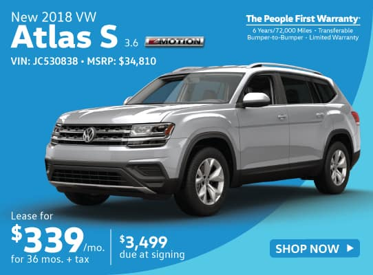 New 2018 Volkswagen Atlas 3.6 S
