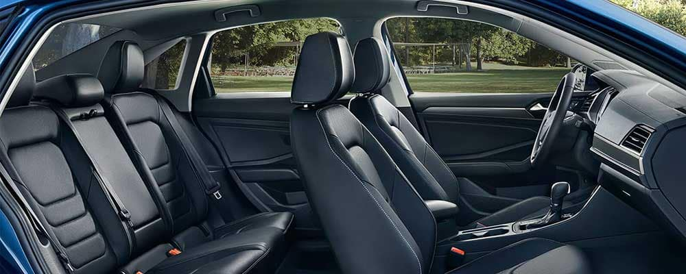 2019 Volkswagen Jetta SEL Premium in titan black leather interior seating header