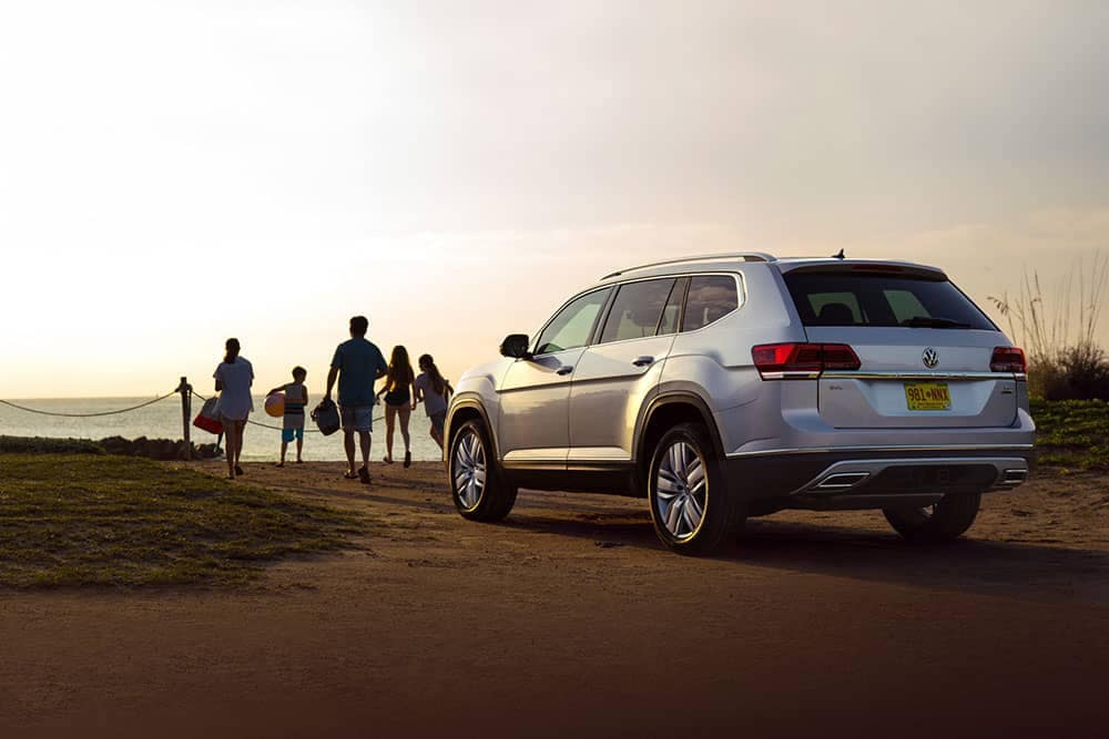 2019 Volkswagen Atlas on the beach at dusk