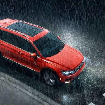2019 Volkswagen Tiguan conquering rain-swept city streets