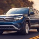 2021 Volkswagen Atlas driving on highway at sunset