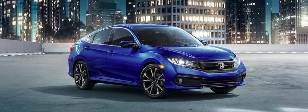 2019 Honda Civic in blue on a rooftop