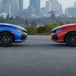 2020 red and blue honda civic