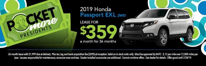 2019 Passport exl Lease Special